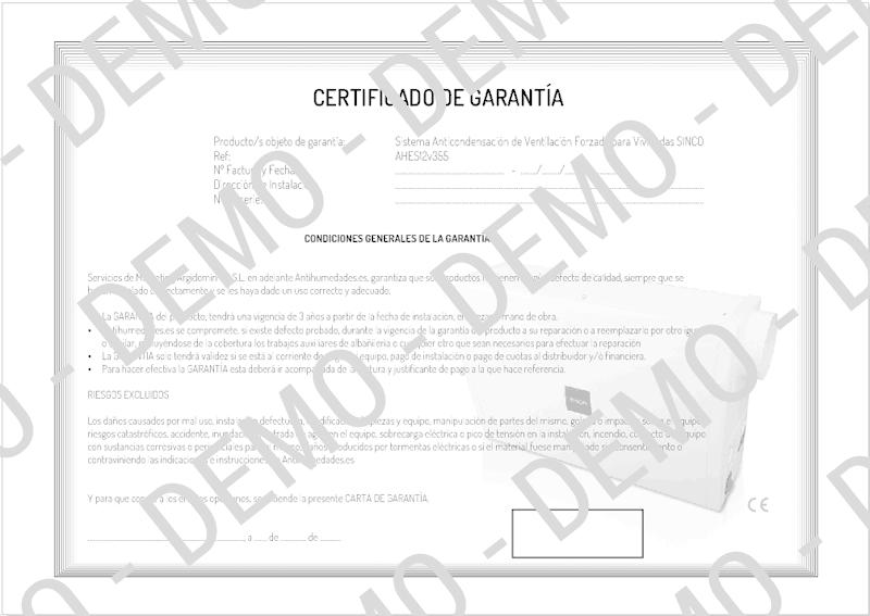 Certificado de Garantía SINCO